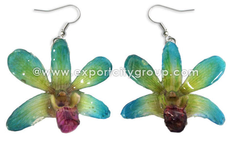 "Mini ""Dendrobium"" Orchid Earring (Light Green)"