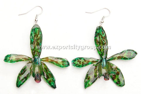 Tiger CAT Tiger Orchid Jewelry Earring (Dark Green)