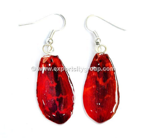 "Tiger CAT Tiger Orchid Jewelry Petal Earring ""M"" (Red)"