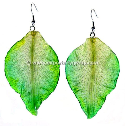 Cattleya Orchid Jewelry SKELETON Petal Earring (Green)