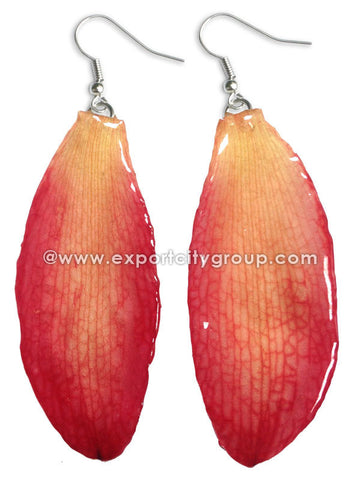 Cattleya Orchid Jewelry SEPAL Petal Earring (Red)