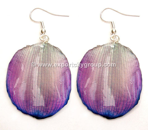 Lotus Real Flower Jewelry Earring (Purple)
