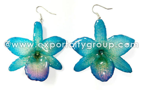 "Nobile ""Dendrobium"" Orchid Jewelry Earring (Blue)"
