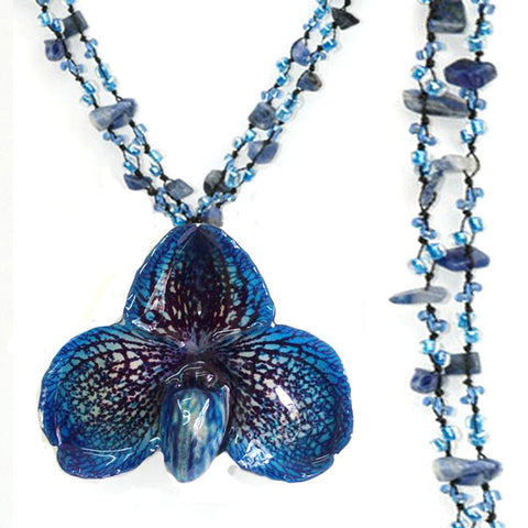 DIY Stone Beads Necklace - Blue Lapis (Exclude Flower)
