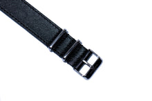 Extra Long Black Double Sided Leather Nato Watch Strap