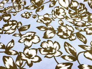Taupe White Flowers and Leaves - Linen