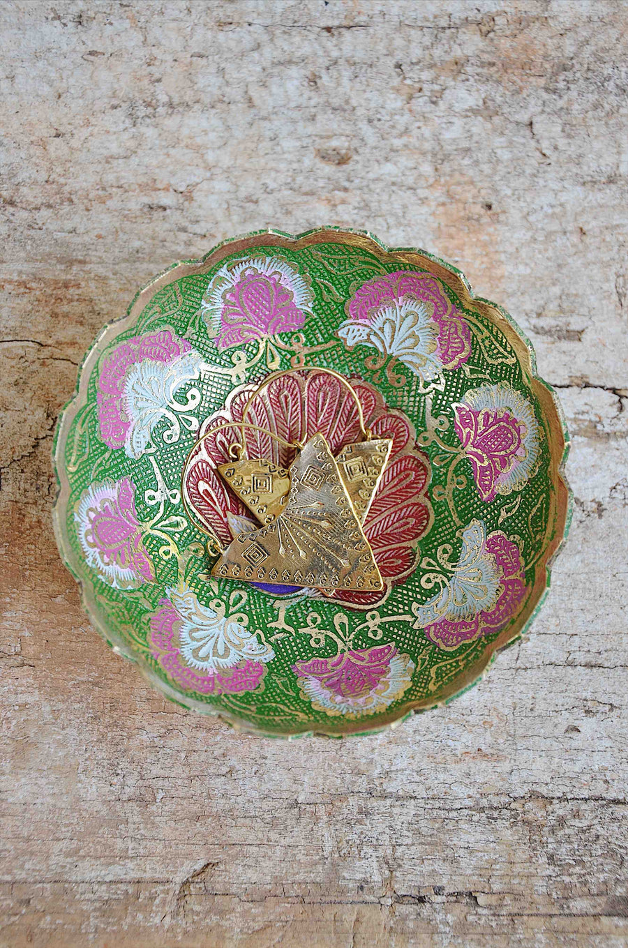 Indian Handcraft Brass Peacock Jewellery Dish