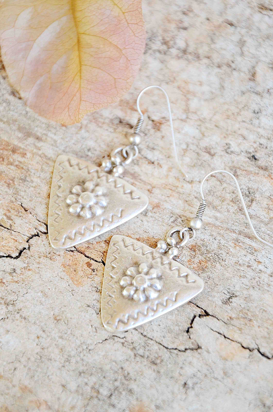 Turkish Silver Triangle Earrings
