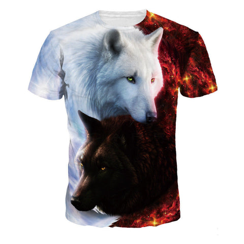 Wolf Funny 3D print Short Sleeve Casual T-Shirts