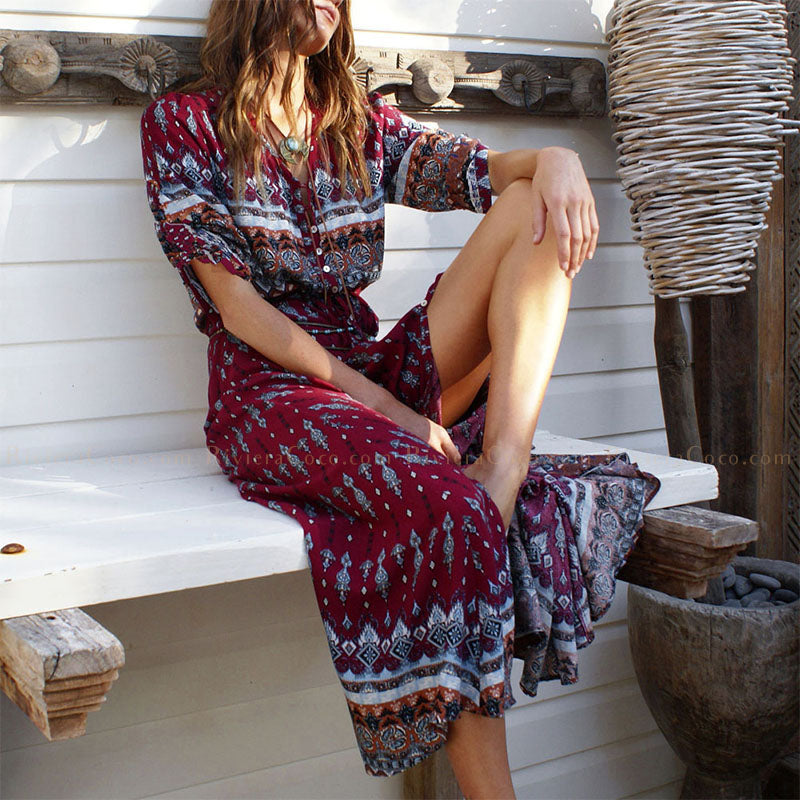 Boho Buttoned Long Dress