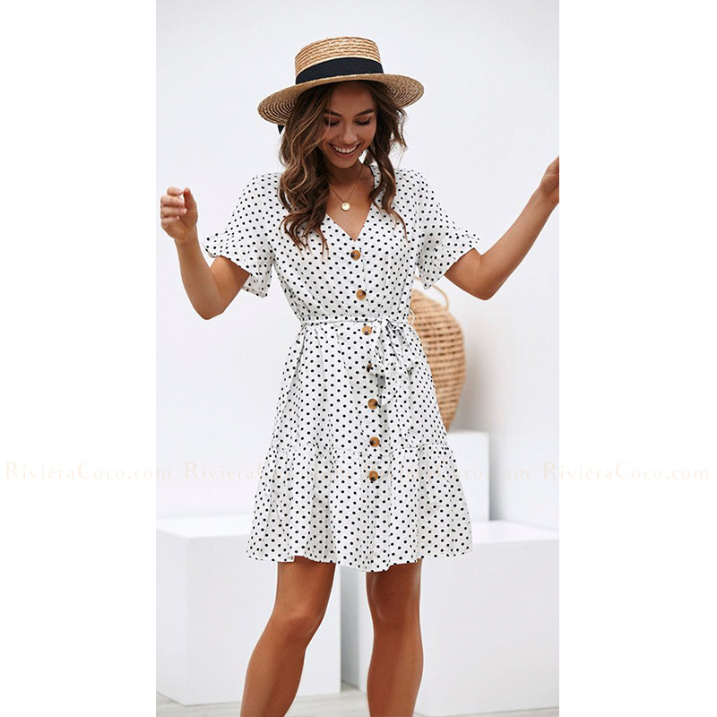 Polka Dot Buttoned Little Dress
