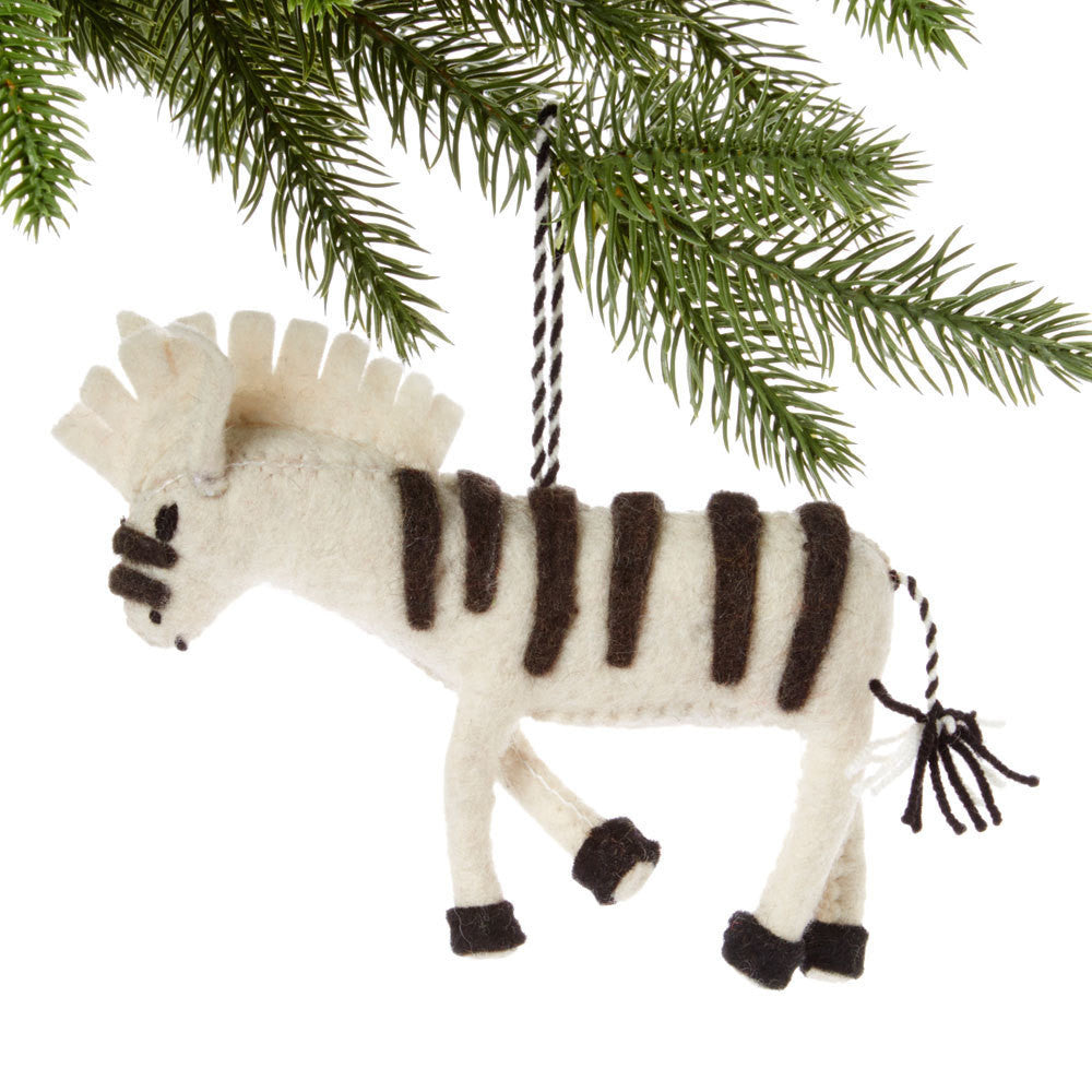 White Zebra Felt Holiday Ornament - Silk Road Bazaar (O)