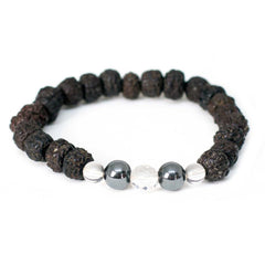 Polished Rudraksha & Hematite Wrist Mala - Global Groove (J)