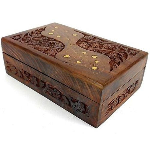 Handcrafted Carved Sheesham Wood Box with Brass Inlay Handmade and Fair Trade