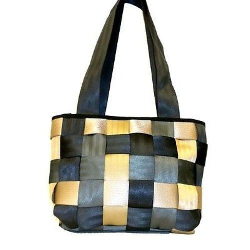 Upcycled Checkered Seat Belt Handbag Handmade and Fair Trade
