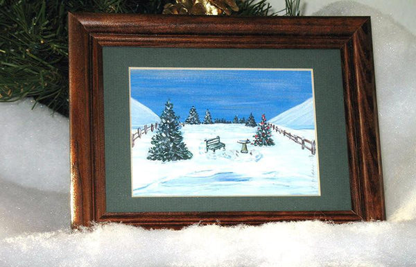 Winter Miniature Print - Birds by the Pond - Natural Artist