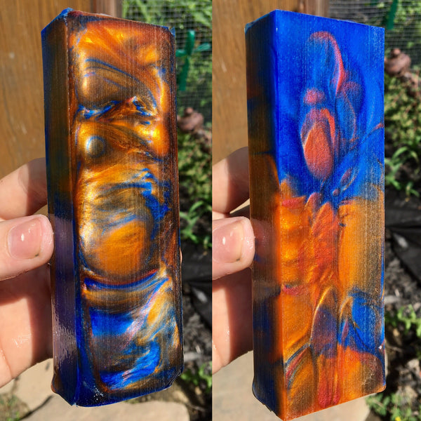 Vibrant Gold/Orange and Blue Resin Blank