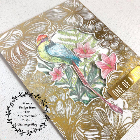 #thefrolickingfairy #aperfecttimetocraft #apttc #cardchallenge #thehungryjpeg #naturebreathing #birdofparadise #tropical #decofoil #gold #spectrumnoir #blendablepencils #coloredpencils #digitalart #digitalcollection #nature #papercraft #cardchallenge #handmade #cardmaker
