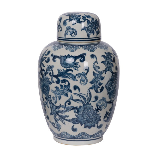 Floral Ginger Jar  (Blue / White) - FREE SHIPPING - Darkhorse Creations