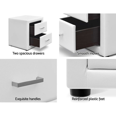 Stella Faux Leather Bedside Table (White) - Free Shipping - Darkhorse Creations
