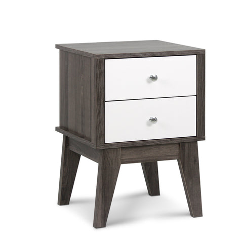 Bedside Table with Drawers White and Dark Grey - Darkhorse Creations