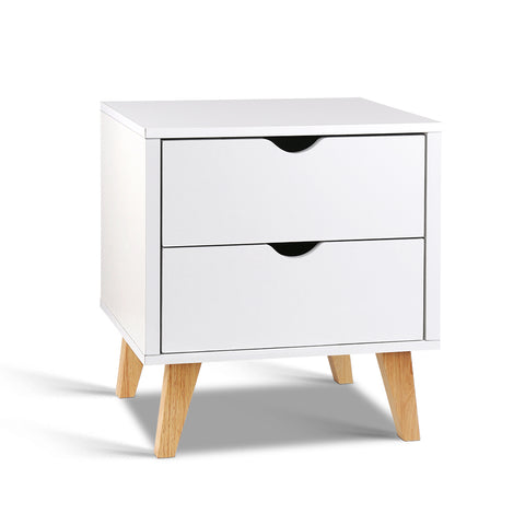 Artiss 2 Drawer Wooden Bedside Tables - White - Darkhorse Creations