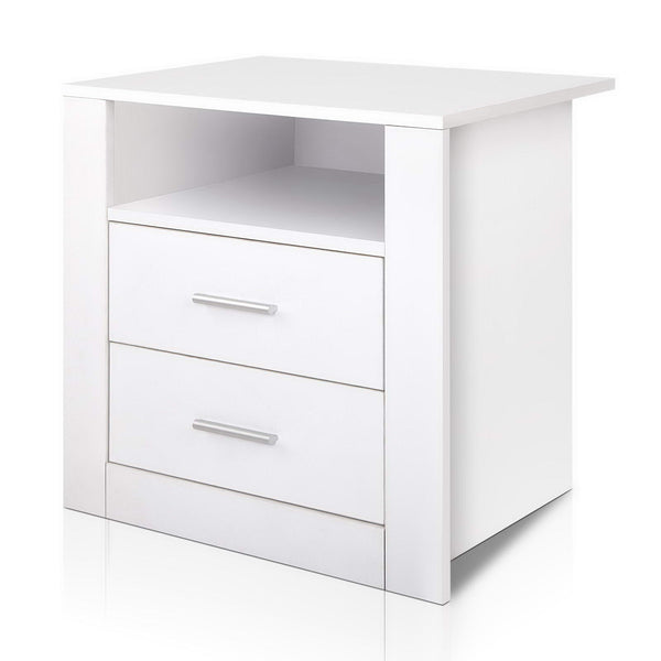Austin Anti-Scratch Bedside Table (White) - Free Shipping - Darkhorse Creations