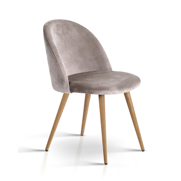 Artiss Set of Two Velvet Modern Dining Chair - Light Grey - Darkhorse Creations