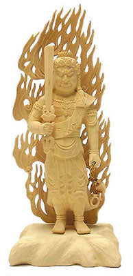Deluxe Hand Carved Fudo Myo Statue MEDIUM