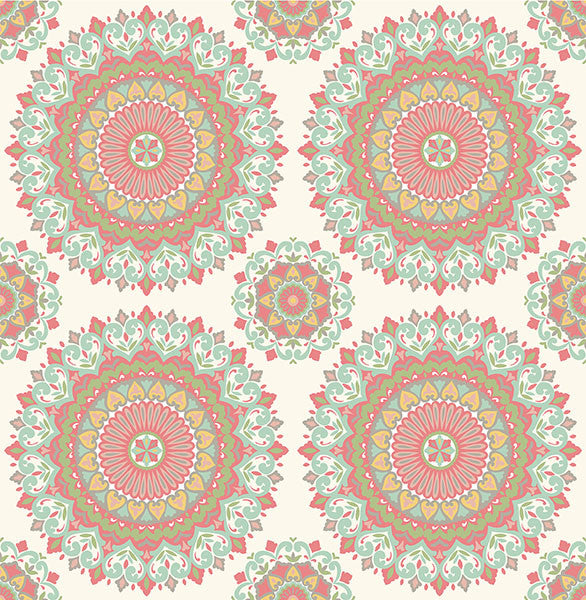 Gemma Aqua Boho Medallion Wallpaper