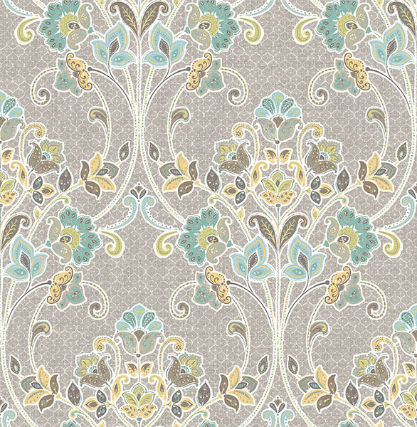 Willow Grey Nouveau Floral Wallpaper