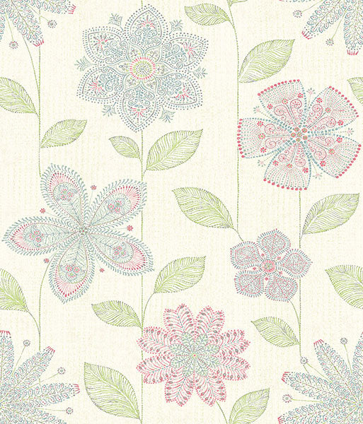 Maisie Green Batik Flower Wallpaper
