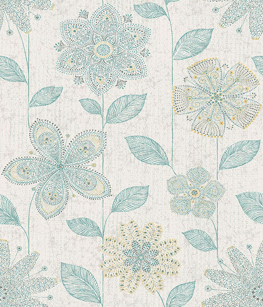 Maisie Teal Batik Flower Wallpaper