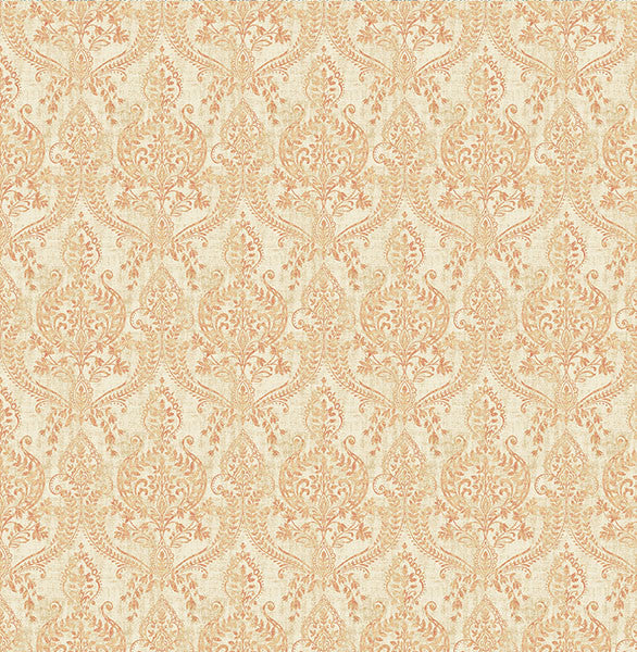 Waverly Rust Petite Damask Wallpaper