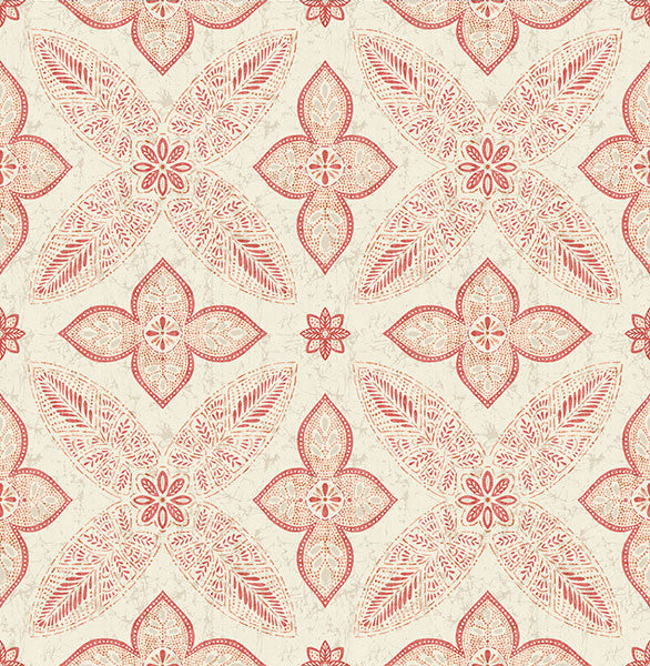 Off Beat Ethnic Red Geometric Floral Wallpaper