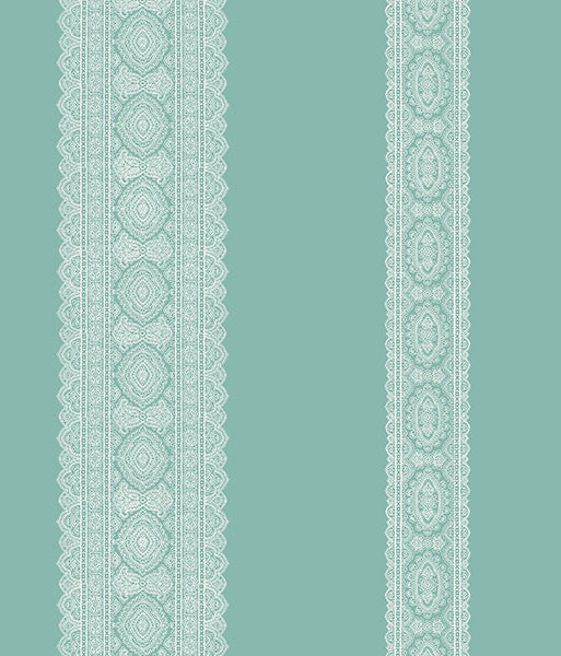 Brynn Turquoise Paisley Stripe Wallpaper