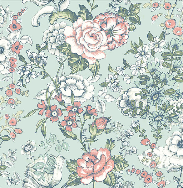 Ainsley Aqua Boho Floral Wallpaper