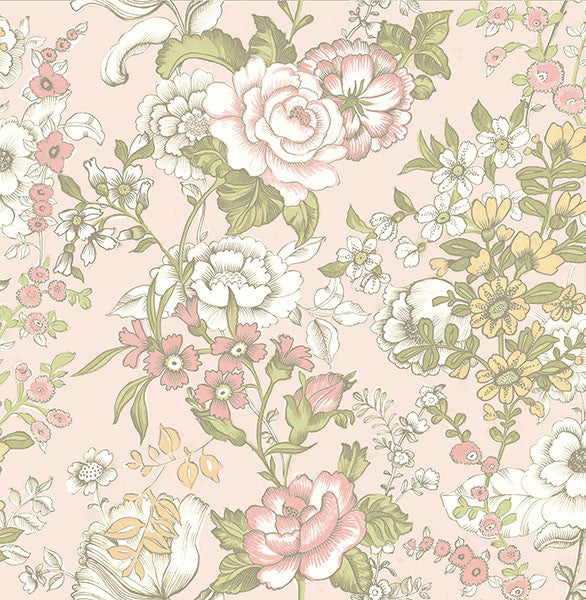 Ainsley Pink Boho Floral Wallpaper