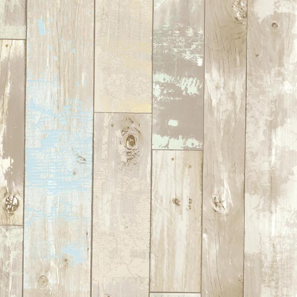 Dean Neutral Distressed Wood Panel Wallpaper