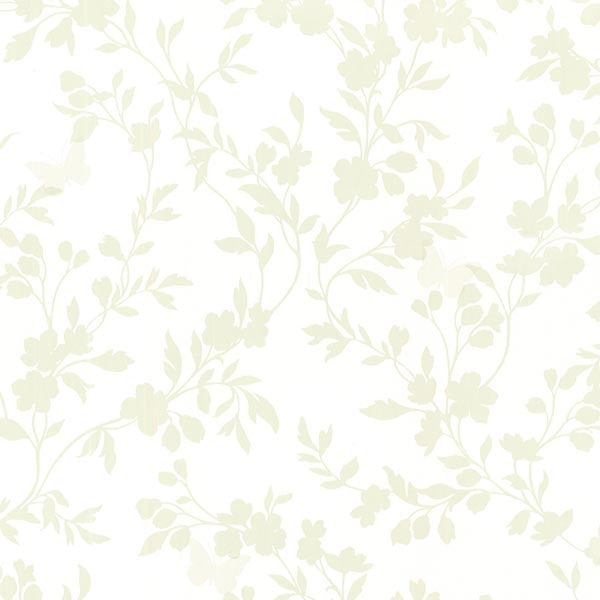 Layla Light Green Floral Trail Silhouette Wallpaper