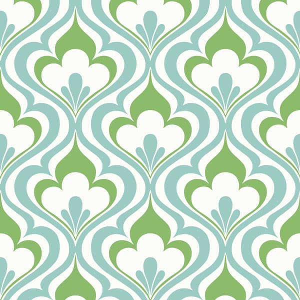 Lola Blue Ogee Bargello Wallpaper