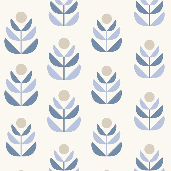 Oslo Blue Geometric Tulip Wallpaper