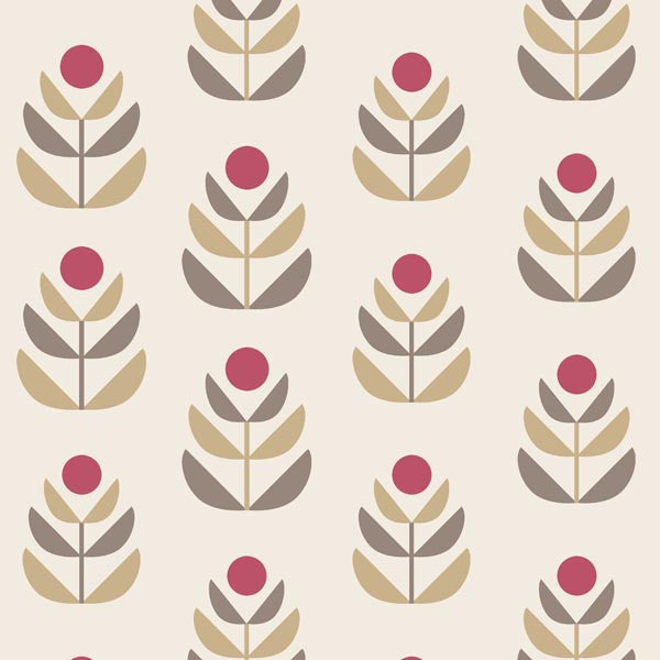 Oslo Red Geometric Tulip Wallpaper