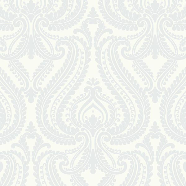 Imperial Blue Modern Damask Wallpaper