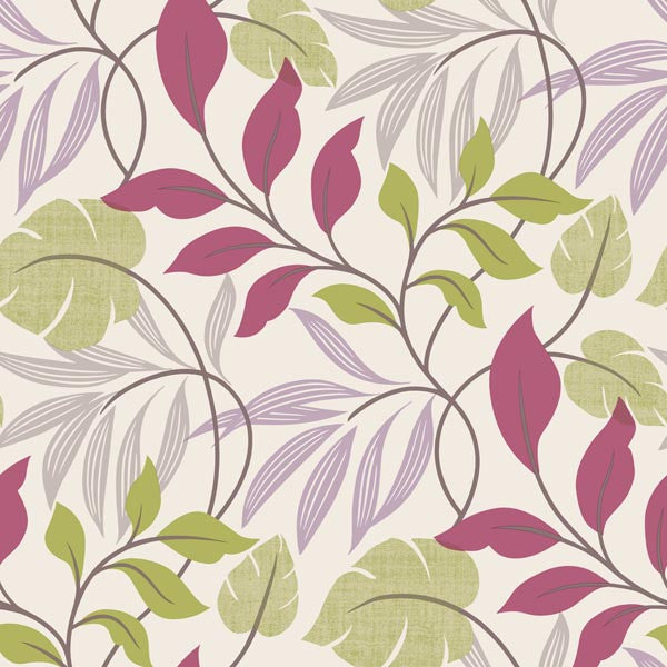 Eden Purple Modern Leaf Trail Wallpaper