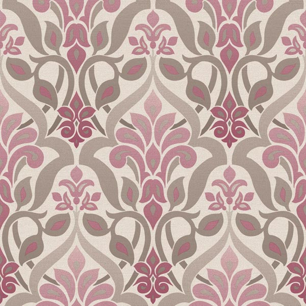 Fusion Purple Ombre Damask Wallpaper