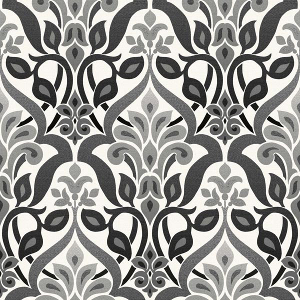 Fusion Black Ombre Damask Wallpaper
