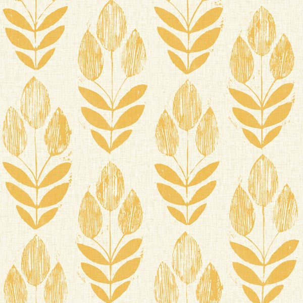 Scandinavian Yellow Block Print Tulip Wallpaper