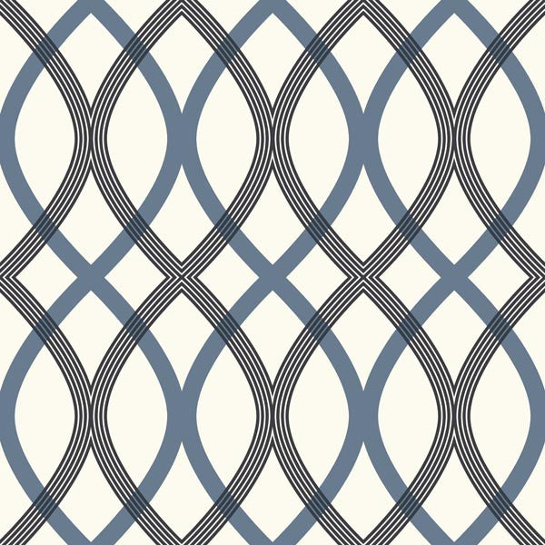 Contour Blue Geometric Lattice Wallpaper