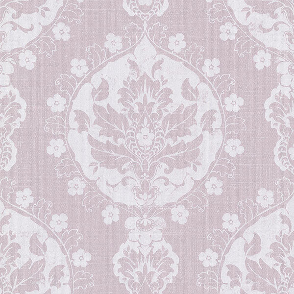 Lourdes Lavender Damask Medallion Wallpaper